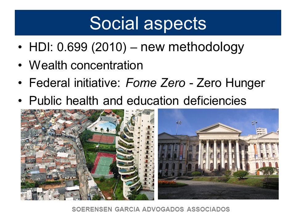 SOERENSEN GARCIA ADVOGADOS ASSOCIADOS Social aspects HDI: 0.699 (2010) – new methodology Wealth concentration Federal initiative: Fome Zero - Zero Hun