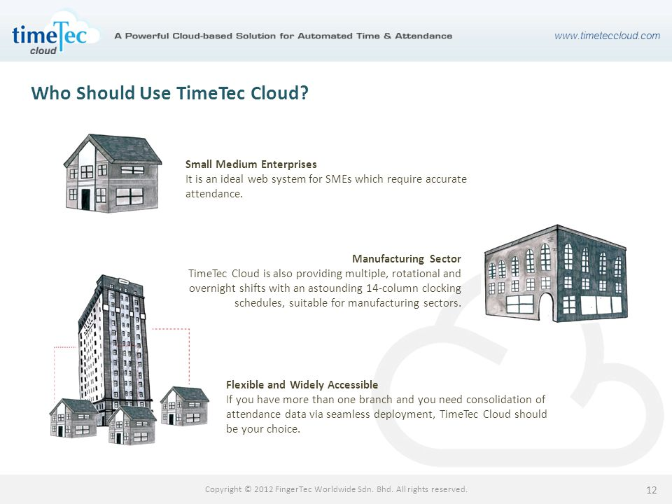 www.timeteccloud.com Copyright © 2012 FingerTec Worldwide Sdn. Bhd. All rights reserved. 12 Who Should Use TimeTec Cloud? Small Medium Enterprises It