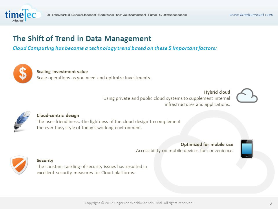 www.timeteccloud.com Copyright © 2012 FingerTec Worldwide Sdn. Bhd. All rights reserved. 3 The Shift of Trend in Data Management Cloud Computing has b