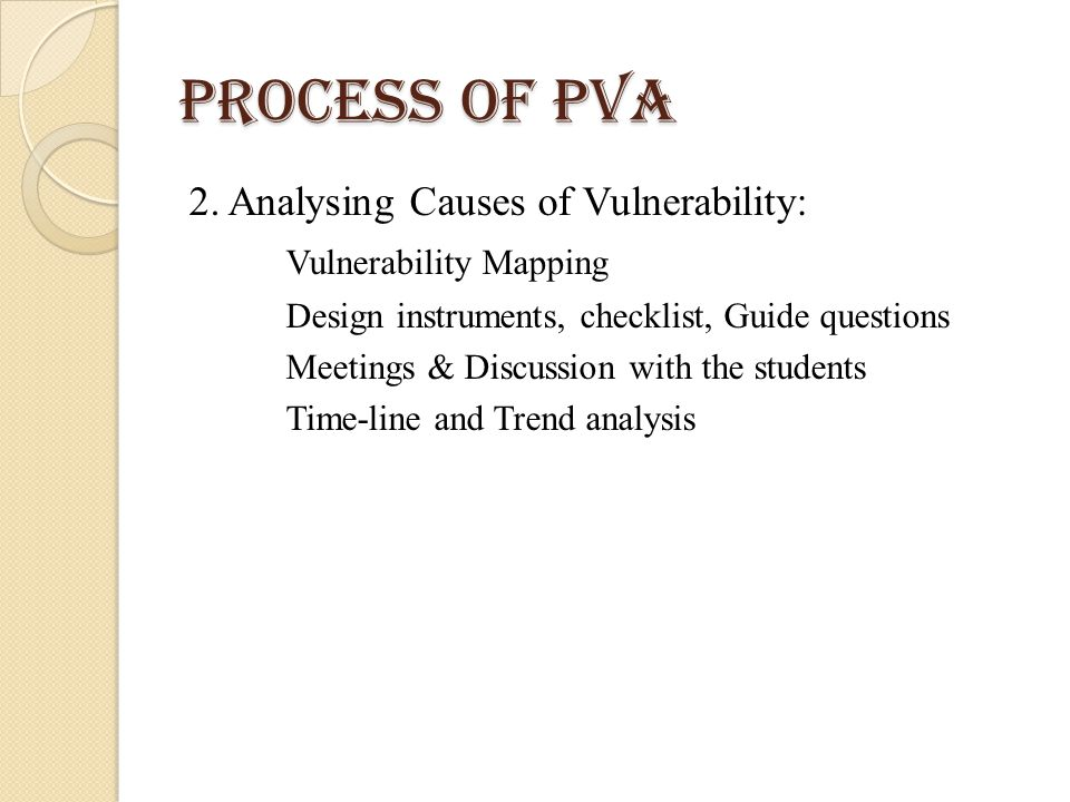 Process of PVA 2. Analysing Causes of Vulnerability: Vulnerability Mapping Design instruments, checklist, Guide questions Meetings & Discussion with t