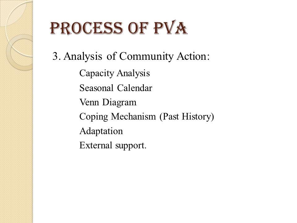 Process of PVA 3. Analysis of Community Action: Capacity Analysis Seasonal Calendar Venn Diagram Coping Mechanism (Past History) Adaptation External s