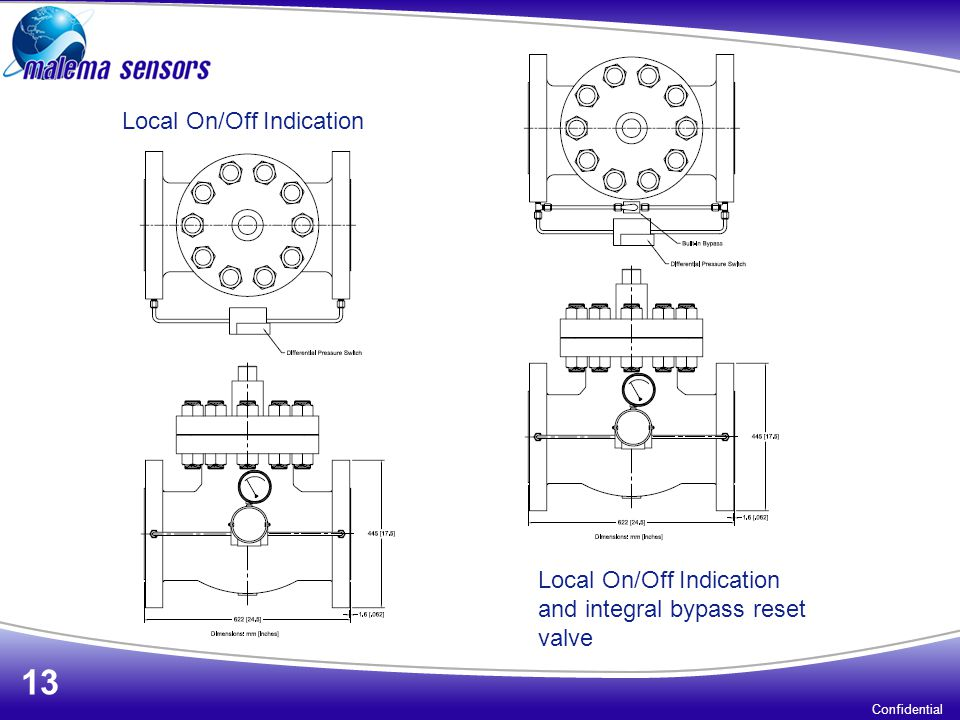Confidential 13 Local On/Off Indication Local On/Off Indication and integral bypass reset valve