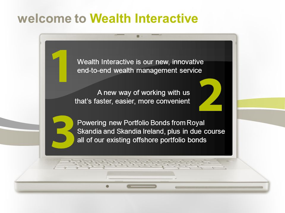 welcome to Wealth Interactive Wealth Interactive is our new, innovative end-to-end wealth management service A new way of working with us thats faster, easier, more convenient Powering new Portfolio Bonds from Royal Skandia and Skandia Ireland, plus in due course all of our existing offshore portfolio bonds