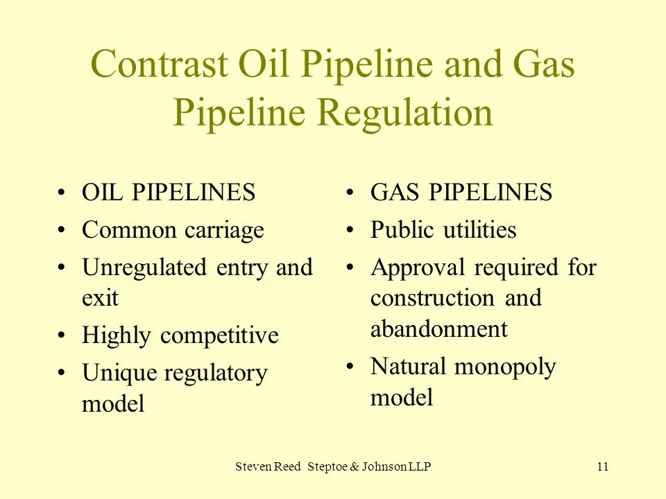 Steven Reed Steptoe & Johnson LLP11 Contrast Oil Pipeline and Gas Pipeline Regulation OIL PIPELINES Common carriage Unregulated entry and exit Highly