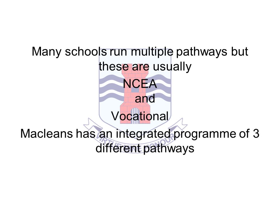 Many schools run multiple pathways but these are usually NCEA and Vocational Macleans has an integrated programme of 3 different pathways