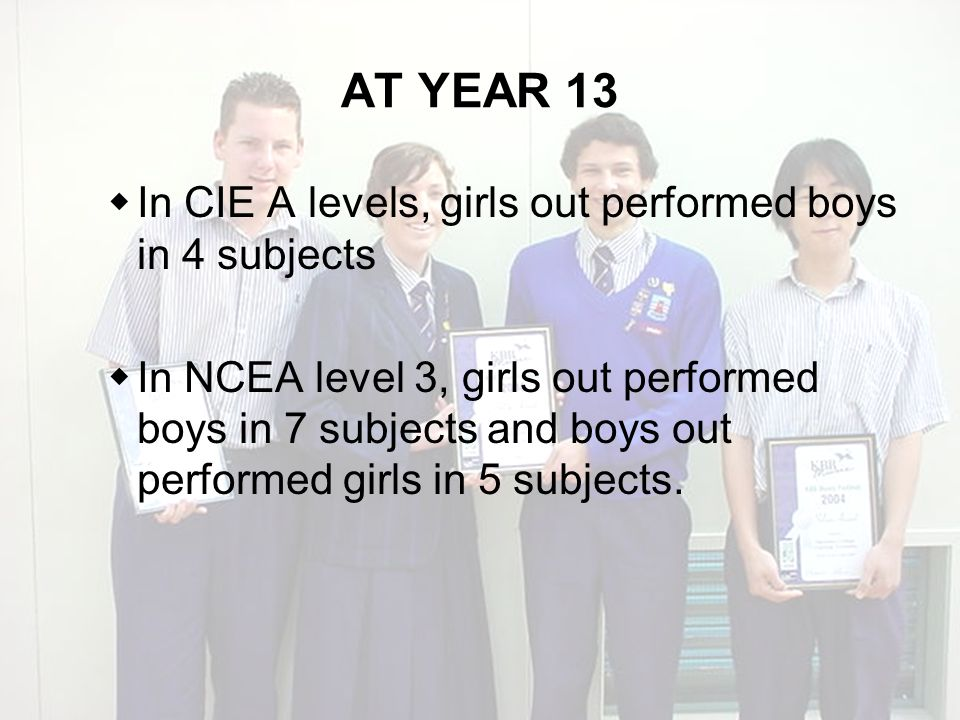 AT YEAR 13 In CIE A levels, girls out performed boys in 4 subjects In NCEA level 3, girls out performed boys in 7 subjects and boys out performed girls in 5 subjects.
