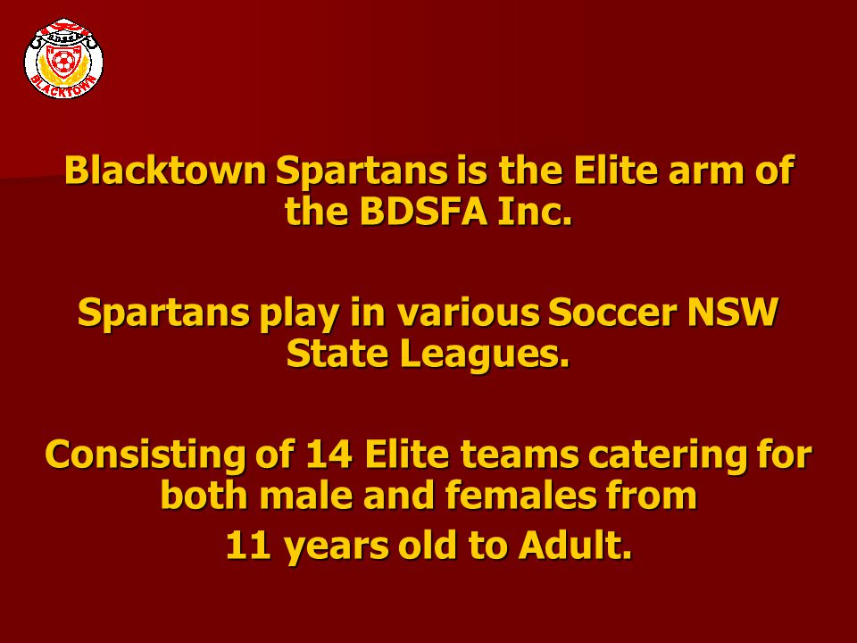 Blacktown Spartans is the Elite arm of the BDSFA Inc. Spartans play in various Soccer NSW State Leagues. Consisting of 14 Elite teams catering for bot