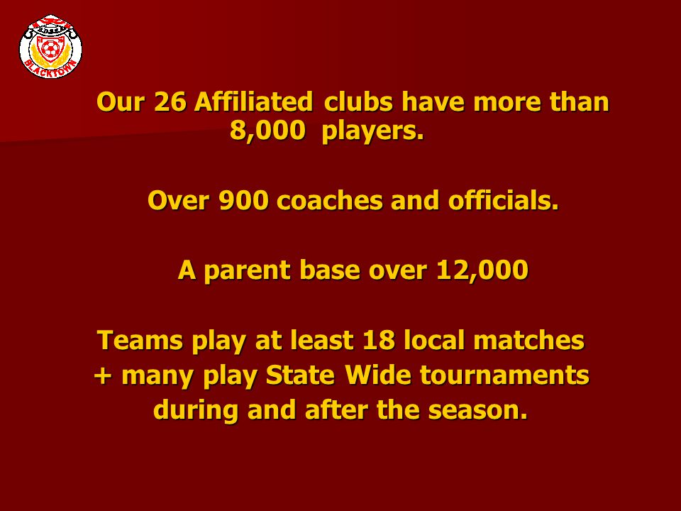 Our 26 Affiliated clubs have more than 8,000 players. Over 900 coaches and officials. A parent base over 12,000 Teams play at least 18 local matches +