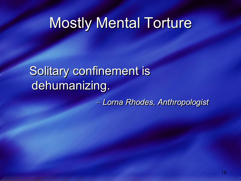 19 Mostly Mental Torture Solitary confinement is dehumanizing.