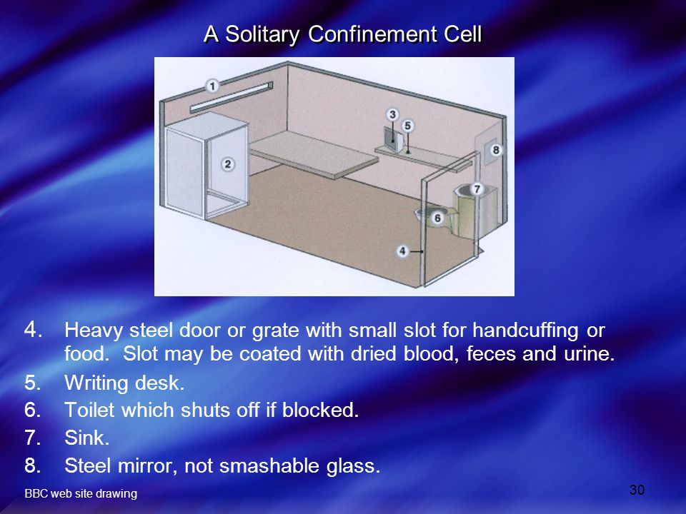 30 A Solitary Confinement Cell 4.