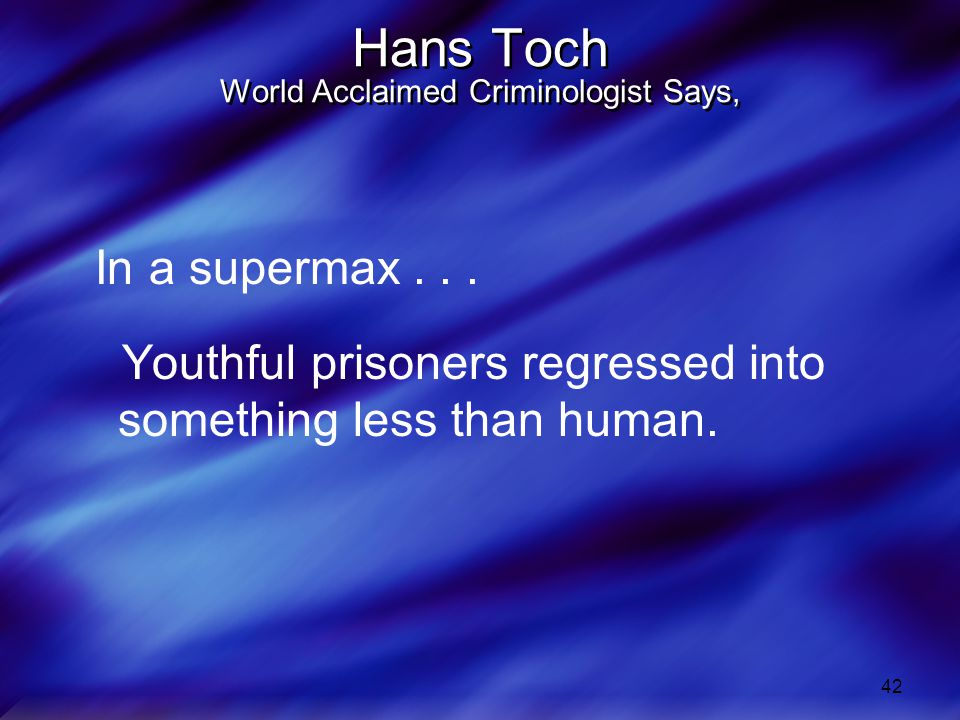 42 Hans Toch World Acclaimed Criminologist Says, In a supermax...