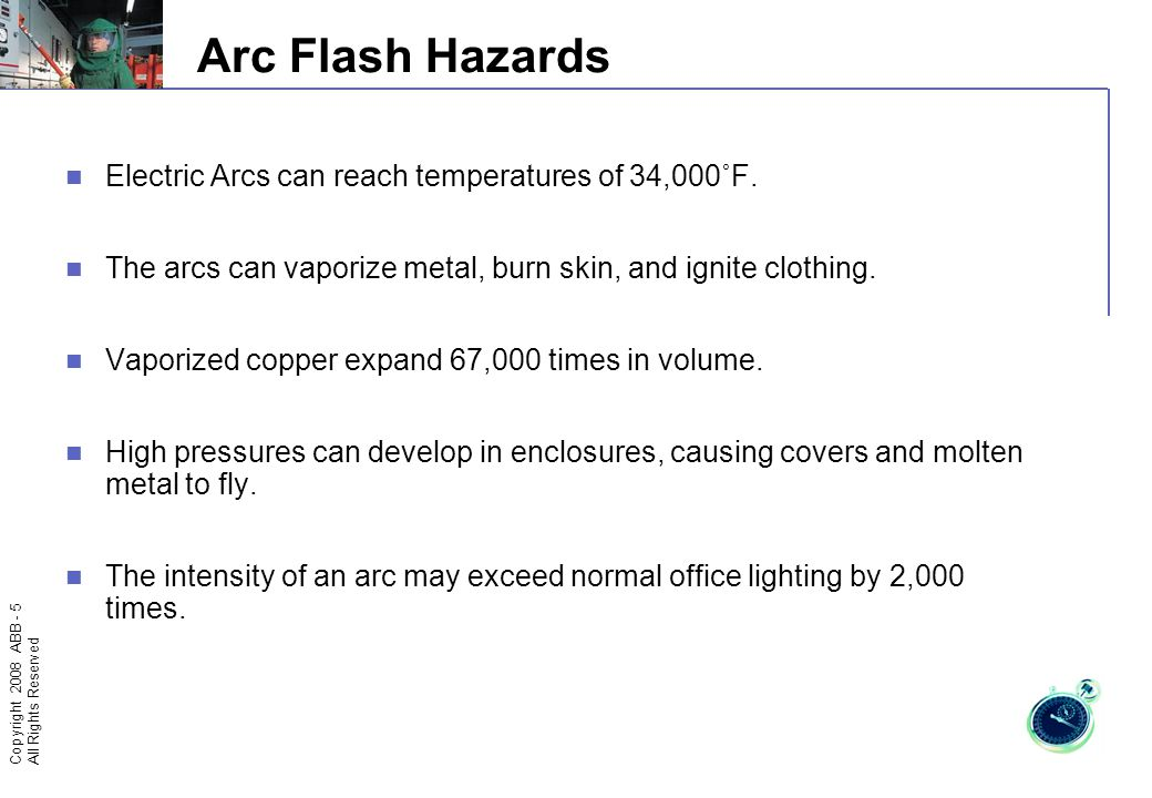 Copyright 2008 ABB - 4 All Rights Reserved Hot gases, melt drops and thermal radiation may cause damage even farther away A rapid temperature rise may