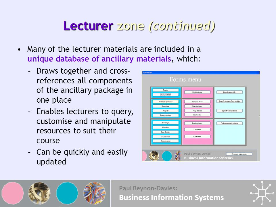 Paul Beynon-Davies: Business Information Systems Lecturer zone (continued) Many of the lecturer materials are included in a unique database of ancillary materials, which: –Draws together and cross- references all components of the ancillary package in one place –Enables lecturers to query, customise and manipulate resources to suit their course –Can be quickly and easily updated