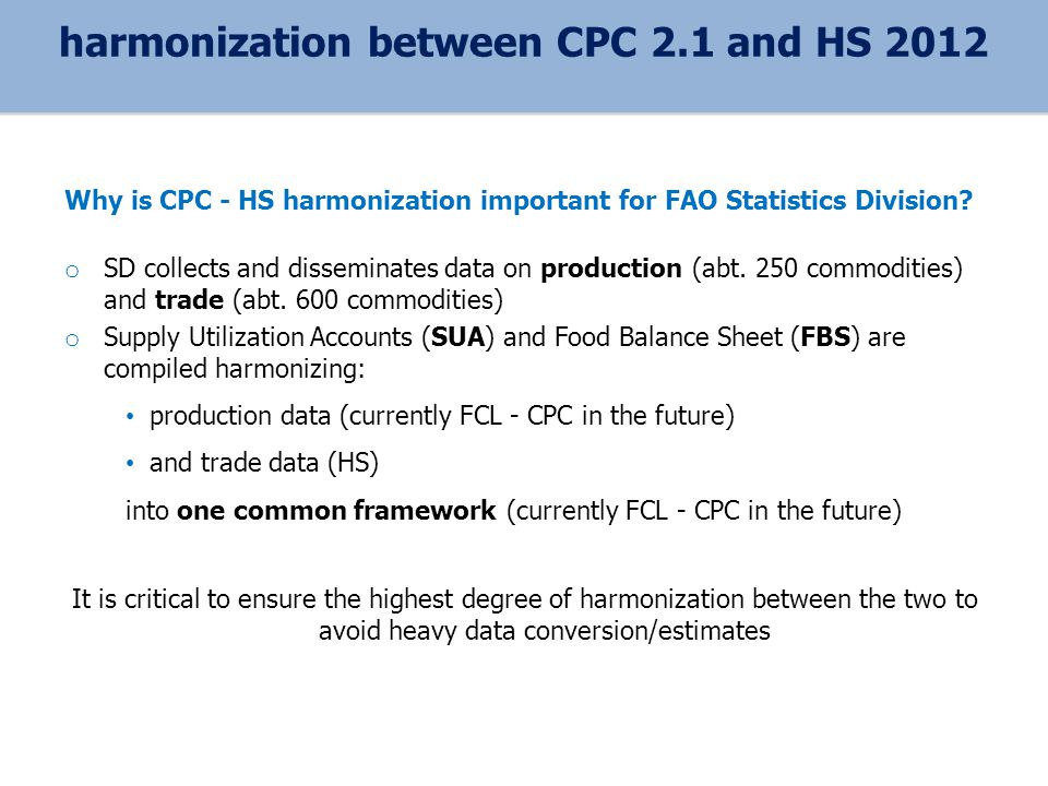 Why is CPC - HS harmonization important for FAO Statistics Division.