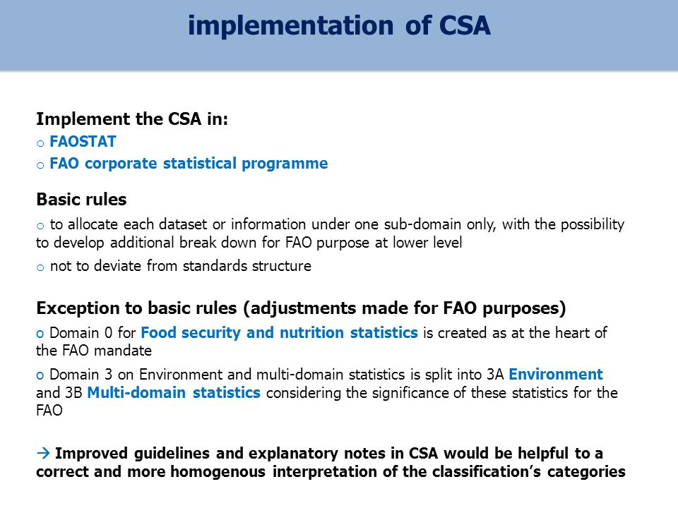 Implement the CSA in: o FAOSTAT o FAO corporate statistical programme Basic rules o to allocate each dataset or information under one sub-domain only, with the possibility to develop additional break down for FAO purpose at lower level o not to deviate from standards structure Exception to basic rules (adjustments made for FAO purposes) o Domain 0 for Food security and nutrition statistics is created as at the heart of the FAO mandate o Domain 3 on Environment and multi-domain statistics is split into 3A Environment and 3B Multi-domain statistics considering the significance of these statistics for the FAO Improved guidelines and explanatory notes in CSA would be helpful to a correct and more homogenous interpretation of the classifications categories implementation of CSA