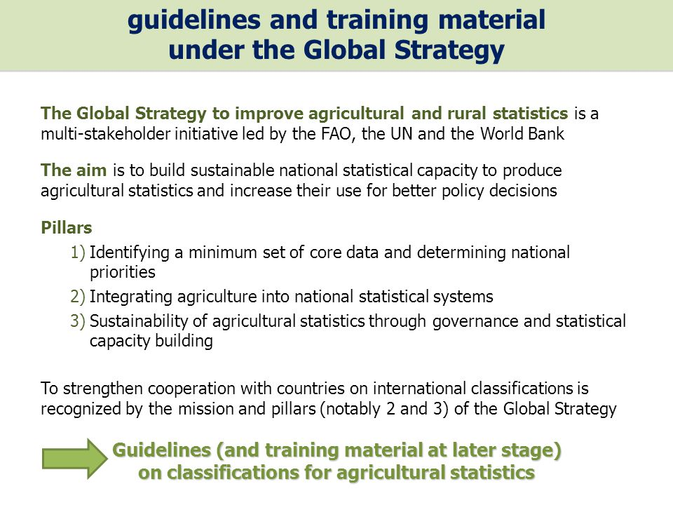 The Global Strategy to improve agricultural and rural statistics is a multi-stakeholder initiative led by the FAO, the UN and the World Bank The aim is to build sustainable national statistical capacity to produce agricultural statistics and increase their use for better policy decisions Pillars 1)Identifying a minimum set of core data and determining national priorities 2)Integrating agriculture into national statistical systems 3)Sustainability of agricultural statistics through governance and statistical capacity building To strengthen cooperation with countries on international classifications is recognized by the mission and pillars (notably 2 and 3) of the Global Strategy Guidelines (and training material at later stage) on classifications for agricultural statistics guidelines and training material under the Global Strategy guidelines and training material under the Global Strategy