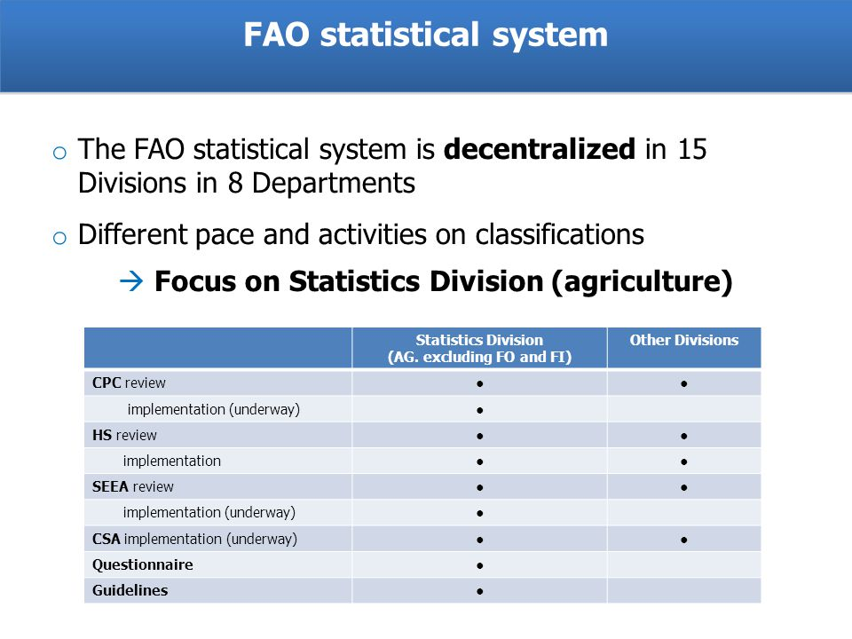 o The FAO statistical system is decentralized in 15 Divisions in 8 Departments o Different pace and activities on classifications Focus on Statistics Division (agriculture) Statistics Division (AG.