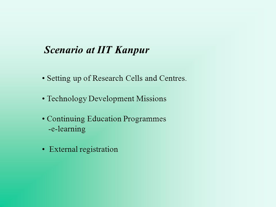 Scenario at IIT Kanpur Setting up of Research Cells and Centres.