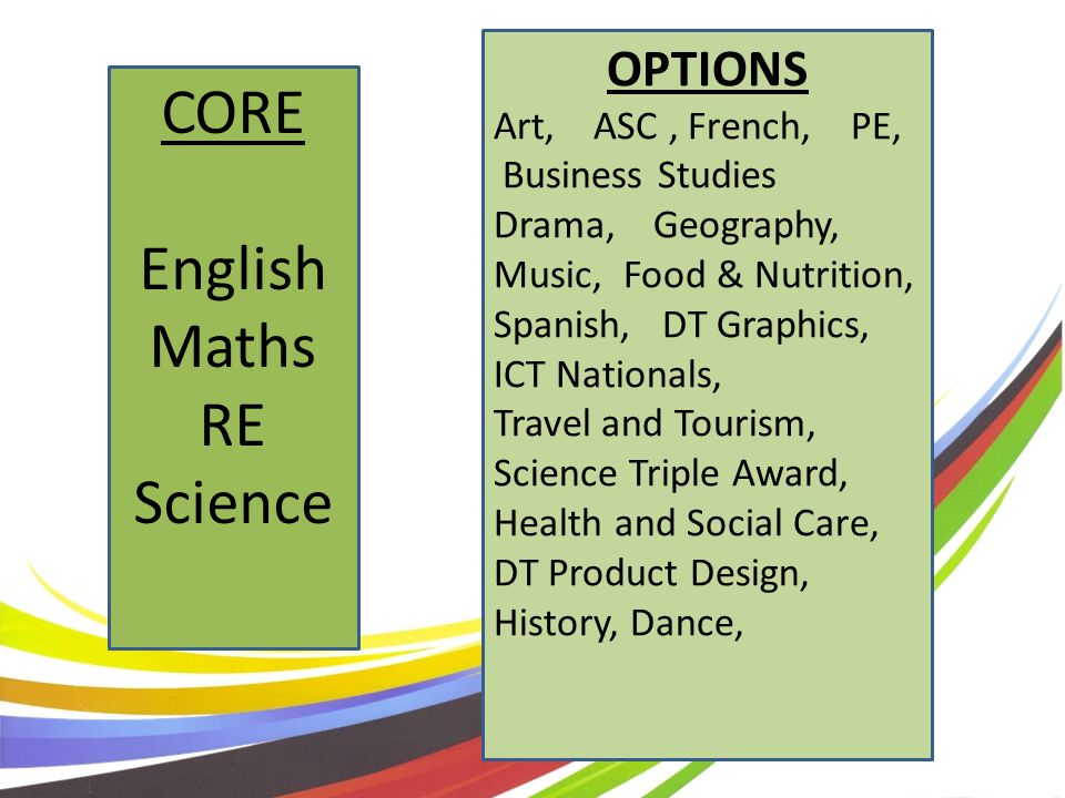 OPTIONS Art, ASC, French, PE, Business Studies Drama, Geography, Music, Food & Nutrition, Spanish, DT Graphics, ICT Nationals, Travel and Tourism, Science Triple Award, Health and Social Care, DT Product Design, History, Dance, CORE English Maths RE Science