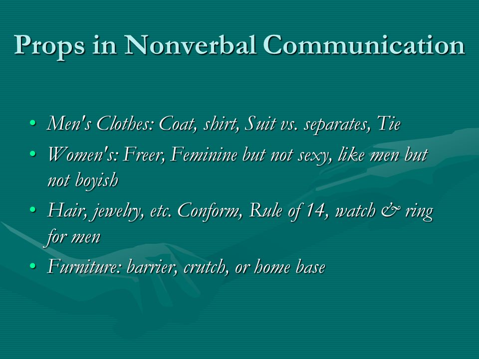 Props in Nonverbal Communication Men s Clothes: Coat, shirt, Suit vs.