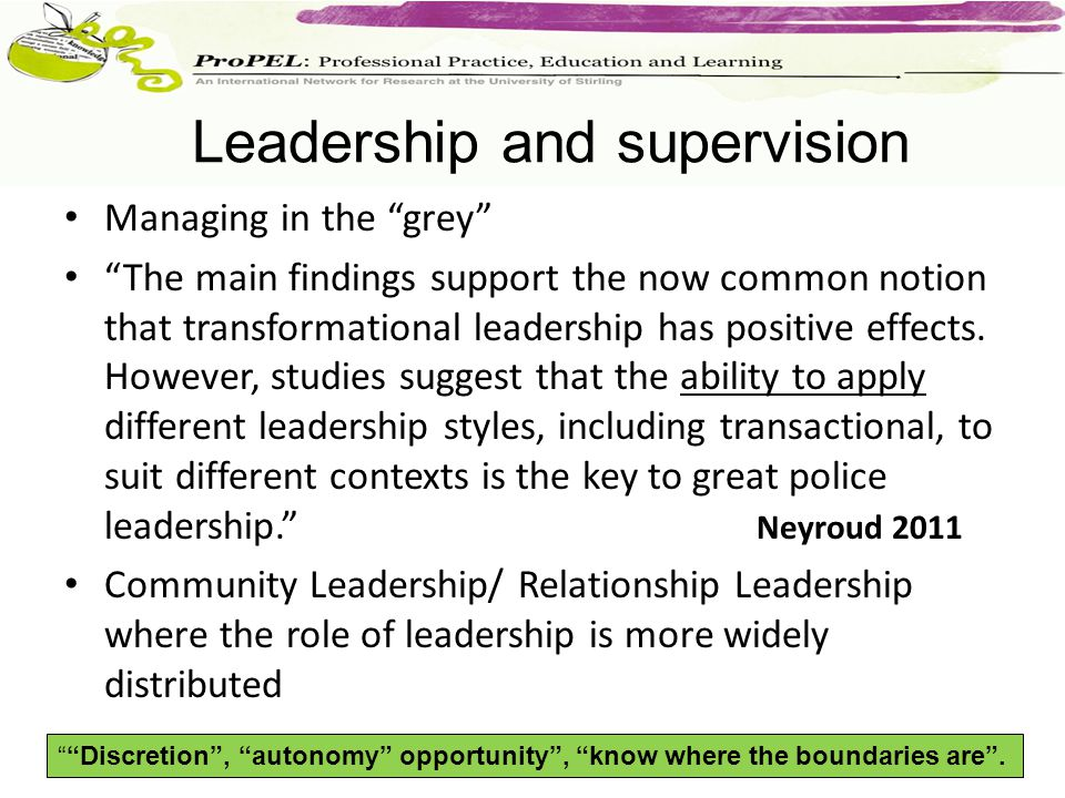 Managing in the grey The main findings support the now common notion that transformational leadership has positive effects.
