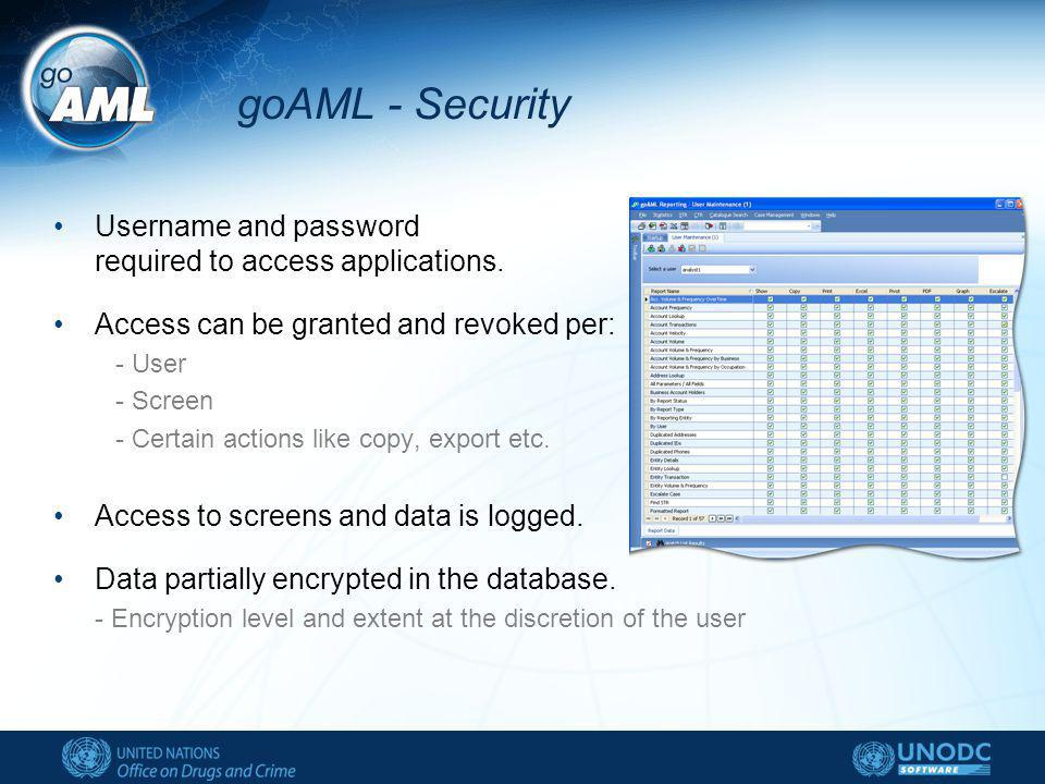 goAML - Security Username and password required to access applications.