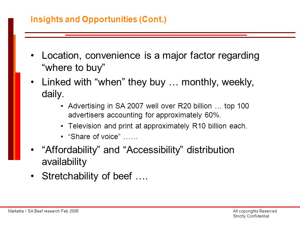 Marketta / SA Beef research Feb 2008All copyrights Reserved Strictly Confidential Location, convenience is a major factor regarding where to buy Linked with when they buy … monthly, weekly, daily.