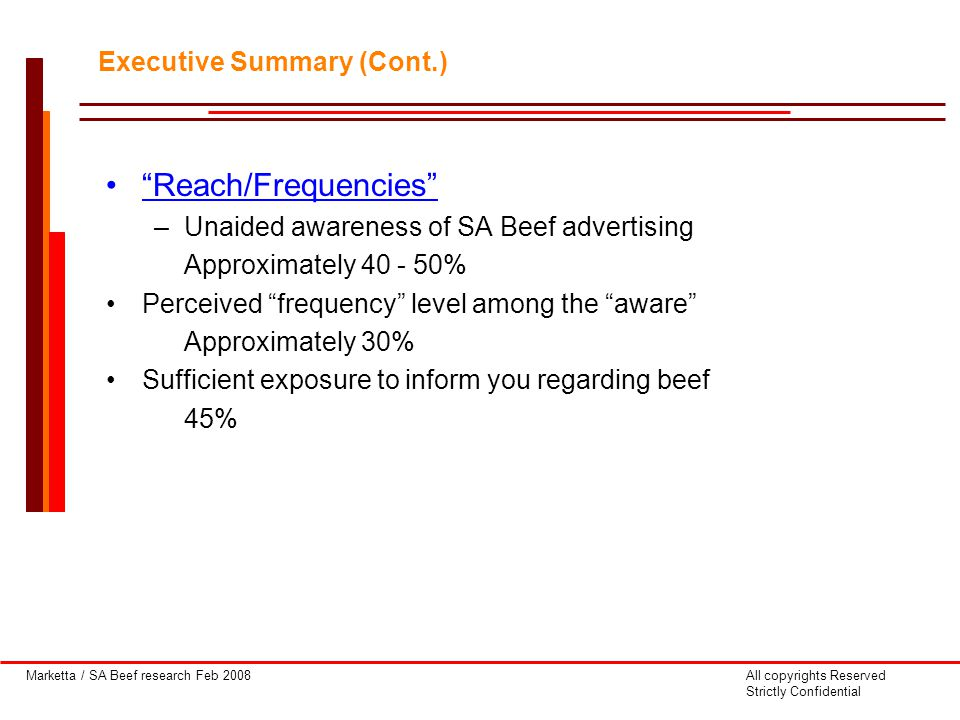 Marketta / SA Beef research Feb 2008All copyrights Reserved Strictly Confidential Reach/Frequencies –Unaided awareness of SA Beef advertising Approximately 40 - 50% Perceived frequency level among the aware Approximately 30% Sufficient exposure to inform you regarding beef 45% Executive Summary (Cont.)
