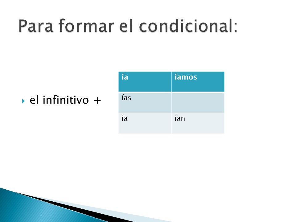 el infinitivo + íaíamos ías íaían