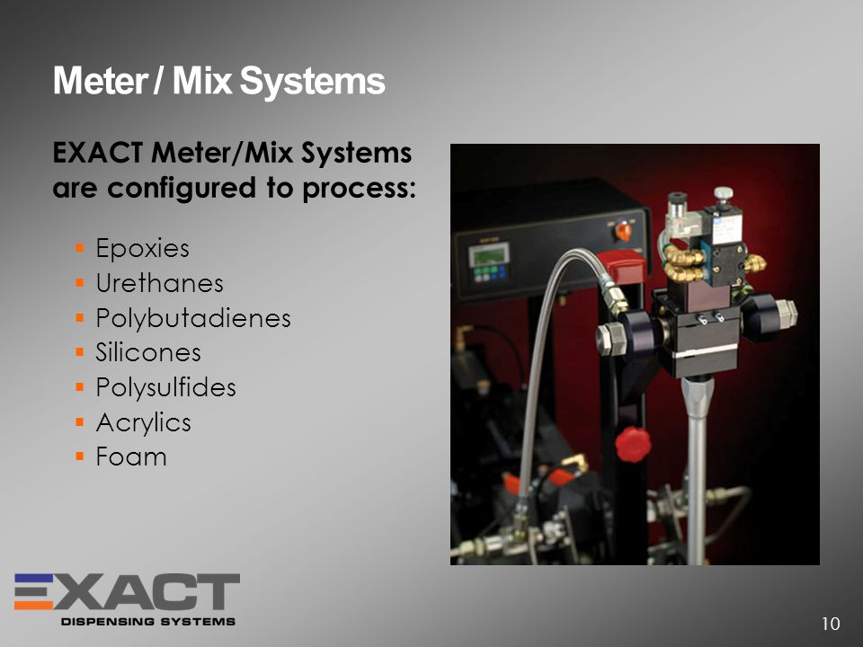 EXACT Meter/Mix Systems are configured to process: Epoxies Urethanes Polybutadienes Silicones Polysulfides Acrylics Foam Meter / Mix Systems 10