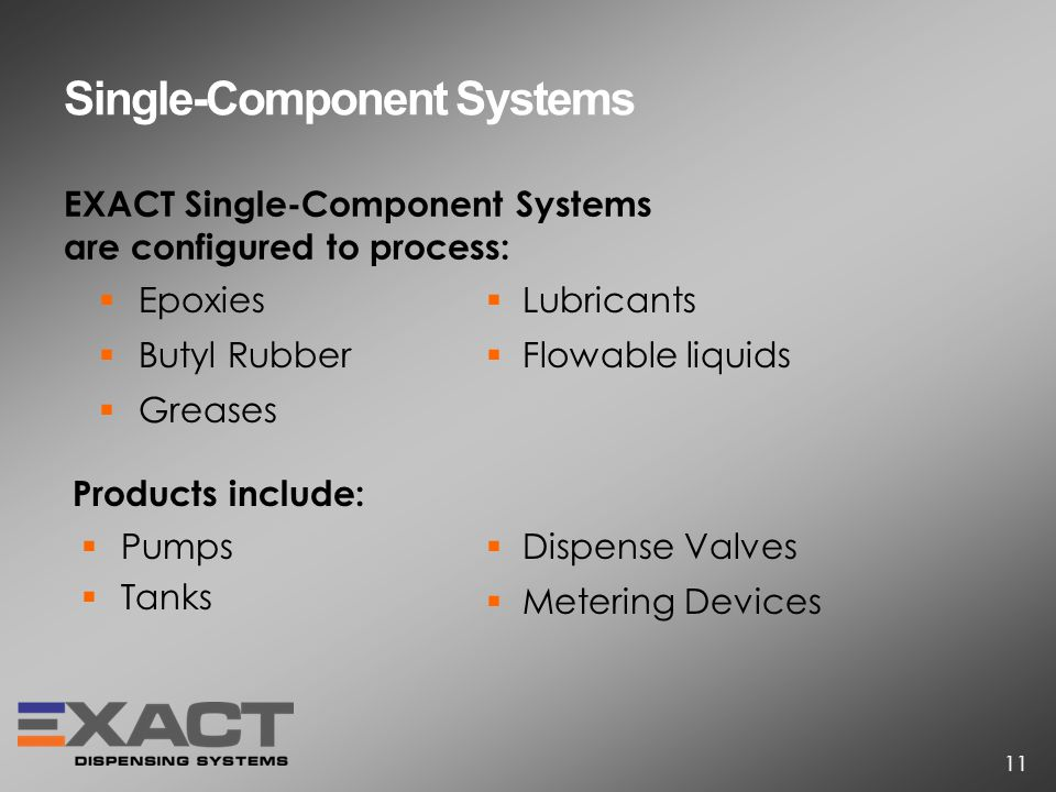 EXACT Single-Component Systems are configured to process: Single-Component Systems Epoxies Butyl Rubber Greases Pumps Tanks Lubricants Flowable liquids Products include: Dispense Valves Metering Devices 11