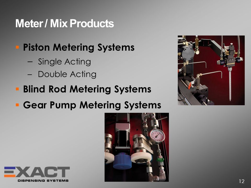 Meter / Mix Products Piston Metering Systems – Single Acting – Double Acting Blind Rod Metering Systems Gear Pump Metering Systems 12
