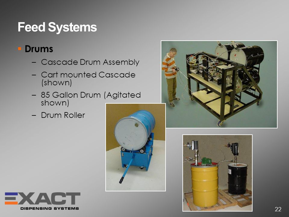 Feed Systems Drums –Cascade Drum Assembly –Cart mounted Cascade (shown) –85 Gallon Drum (Agitated shown) –Drum Roller 22
