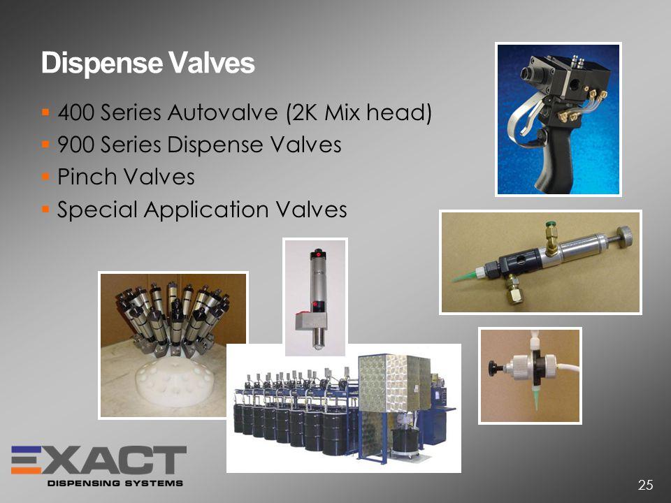 Dispense Valves 400 Series Autovalve (2K Mix head) 900 Series Dispense Valves Pinch Valves Special Application Valves 25