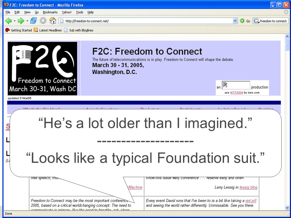 Life Online March 24, 20067 Hes a lot older than I imagined.