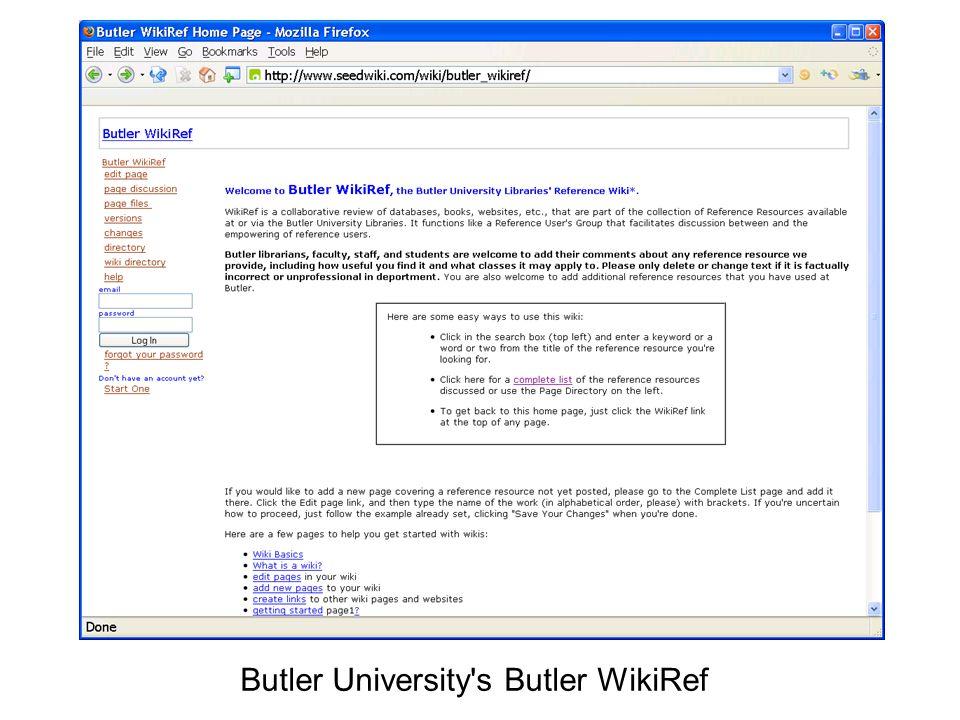 Butler University s Butler WikiRef
