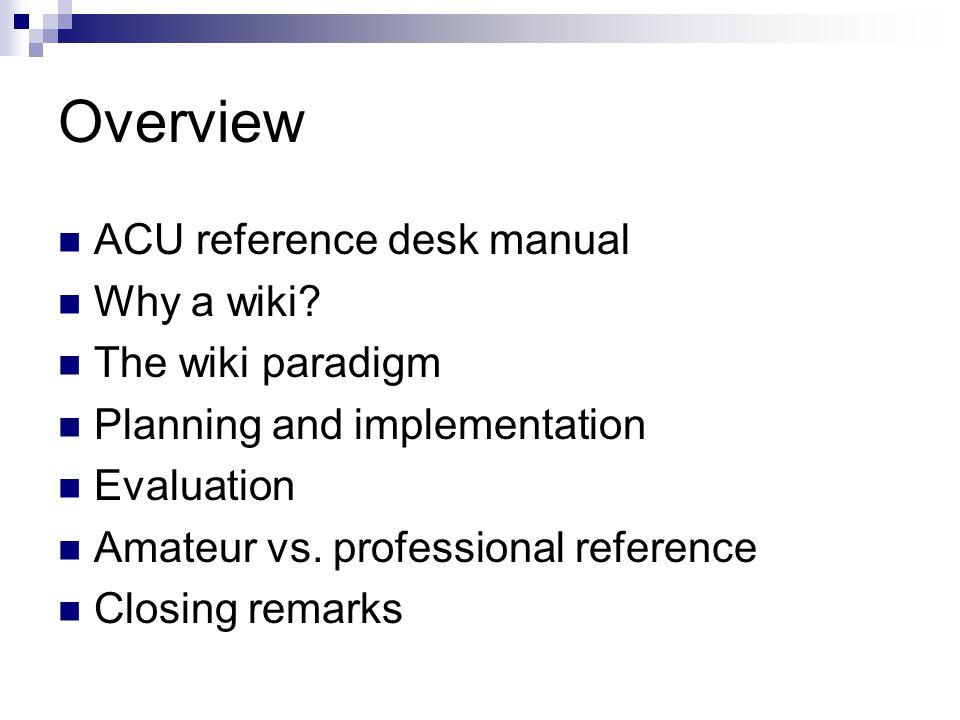 Amateur reference services vs.