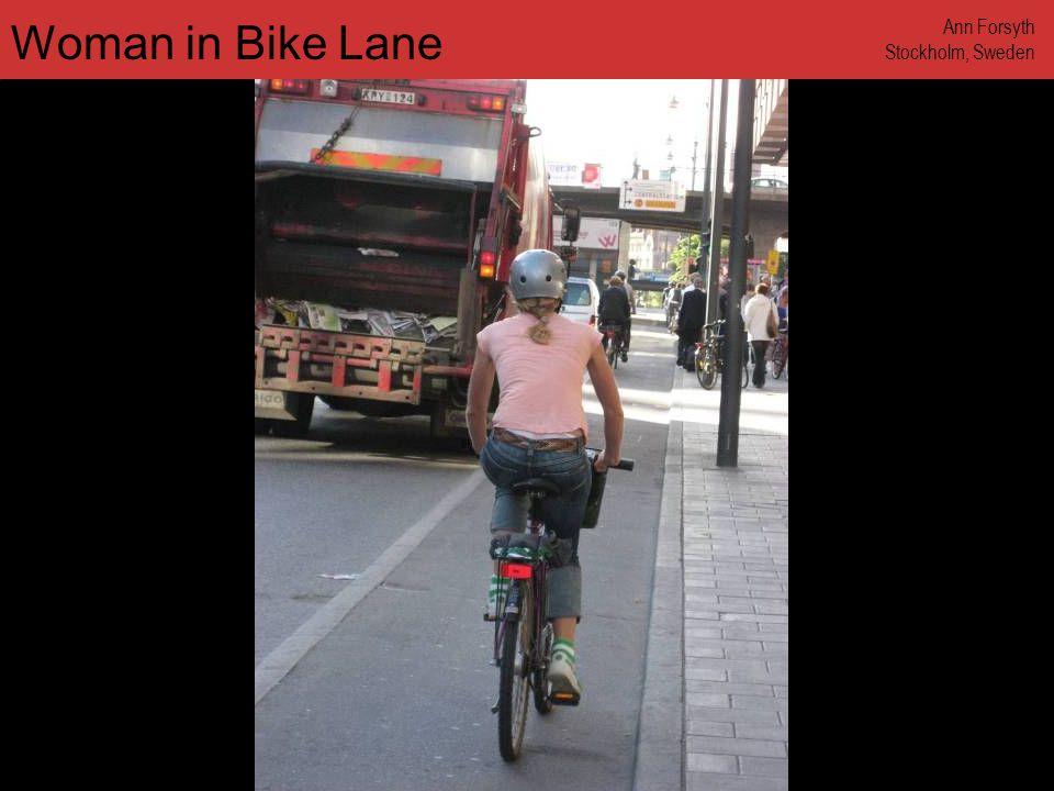 www.annforsyth.net People on Bikes at Crosswalk Ann Forsyth Stockholm, Sweden