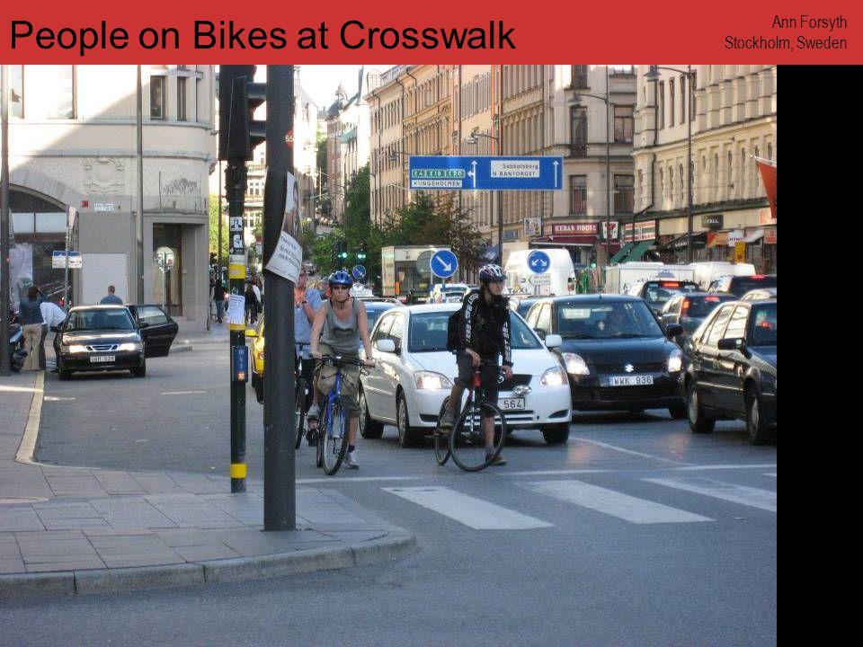 www.annforsyth.net Bikes at Crosswalk Ann Forsyth Amsterdam, Netherlands