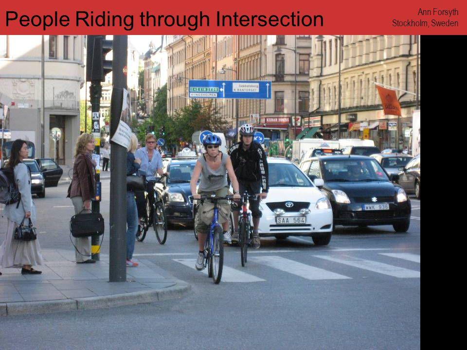 www.annforsyth.net Biker on a Narrow Shopping Street Ann Forsyth Stockholm, Sweden