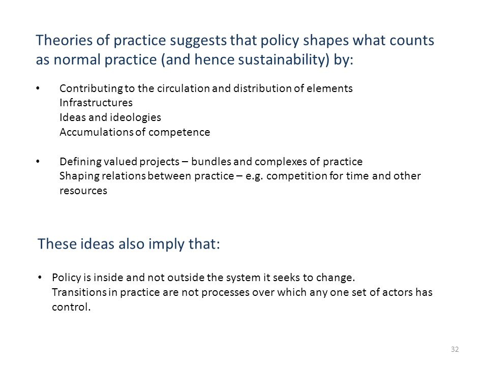 32 Theories of practice suggests that policy shapes what counts as normal practice (and hence sustainability) by: Contributing to the circulation and