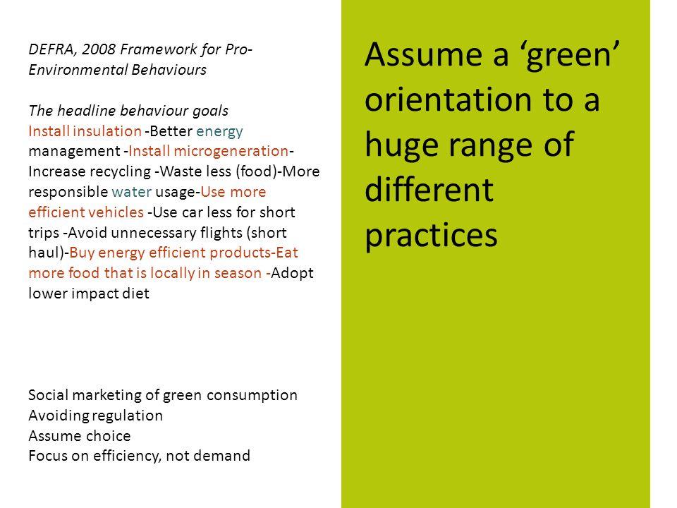 7 DEFRA, 2008 Framework for Pro- Environmental Behaviours The headline behaviour goals Install insulation -Better energy management -Install microgene