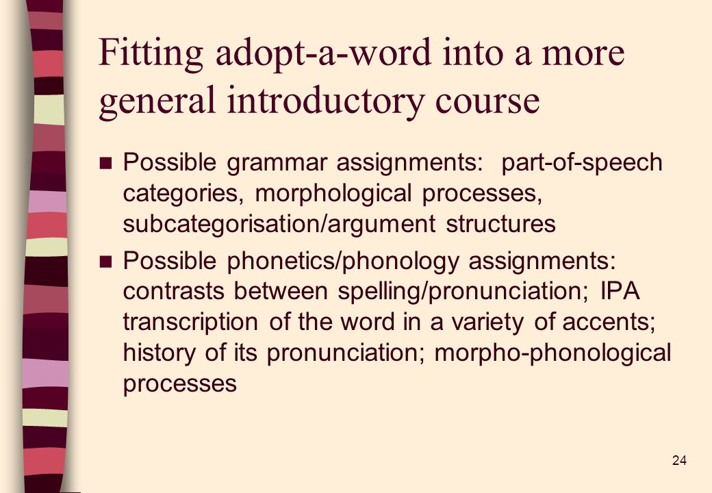 24 Fitting adopt-a-word into a more general introductory course Possible grammar assignments: part-of-speech categories, morphological processes, subcategorisation/argument structures Possible phonetics/phonology assignments: contrasts between spelling/pronunciation; IPA transcription of the word in a variety of accents; history of its pronunciation; morpho-phonological processes