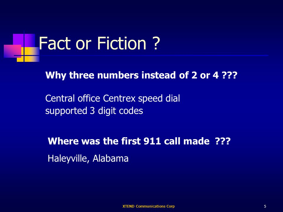 XTEND Communications Corp5 Fact or Fiction . Why three numbers instead of 2 or 4 .