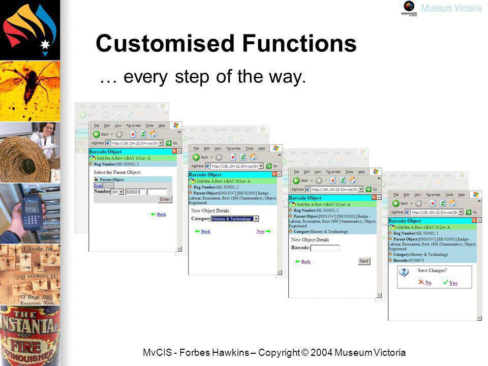 MvCIS - Forbes Hawkins – Copyright © 2004 Museum Victoria Customised Functions … every step of the way.