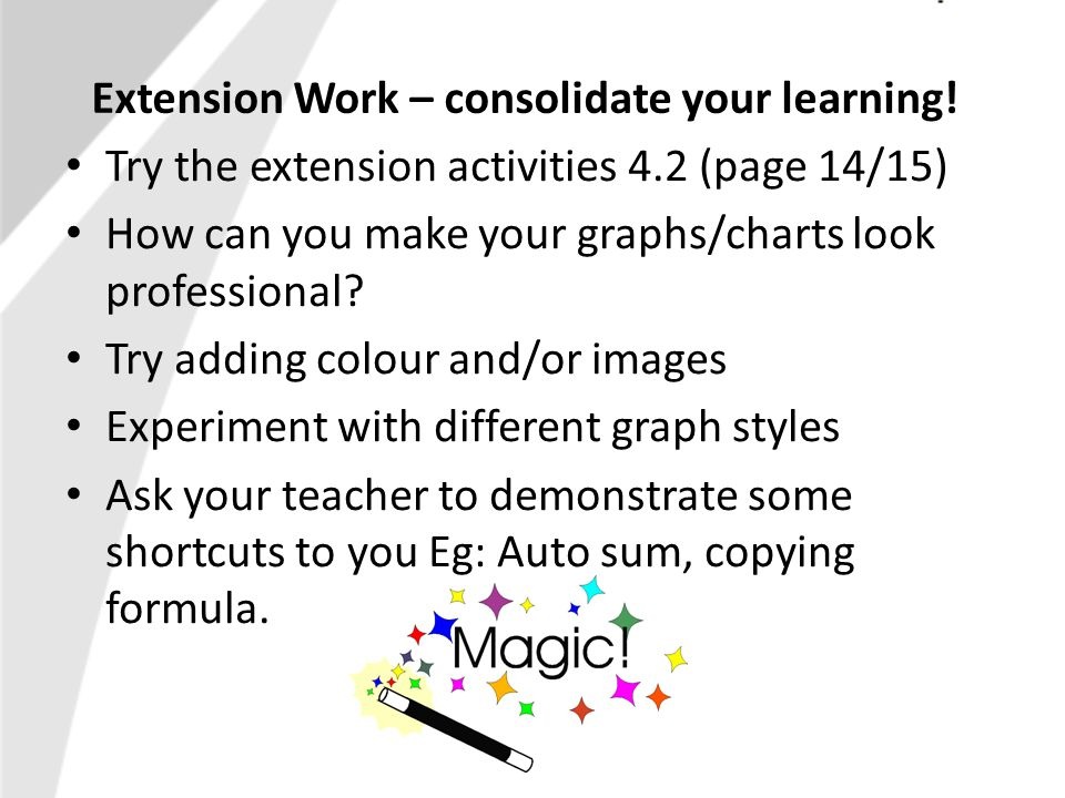 Extension Work – consolidate your learning.