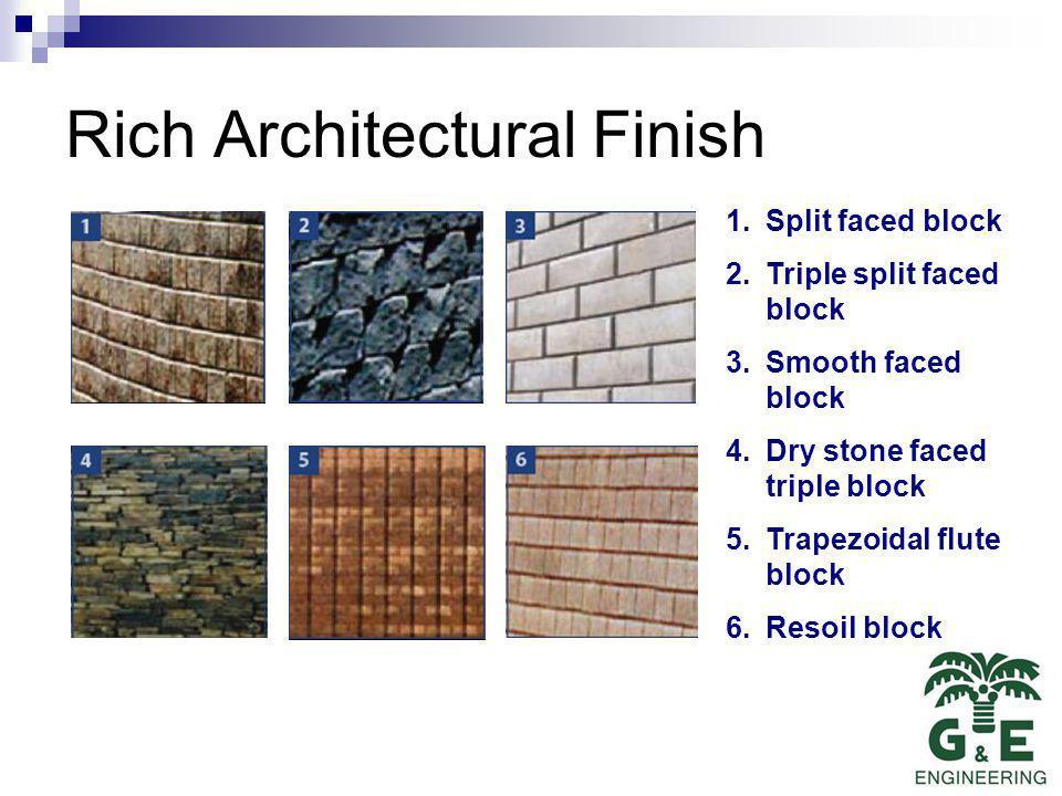 Rich Architectural Finish 1.Split faced block 2.Triple split faced block 3.Smooth faced block 4.Dry stone faced triple block 5.Trapezoidal flute block 6.Resoil block