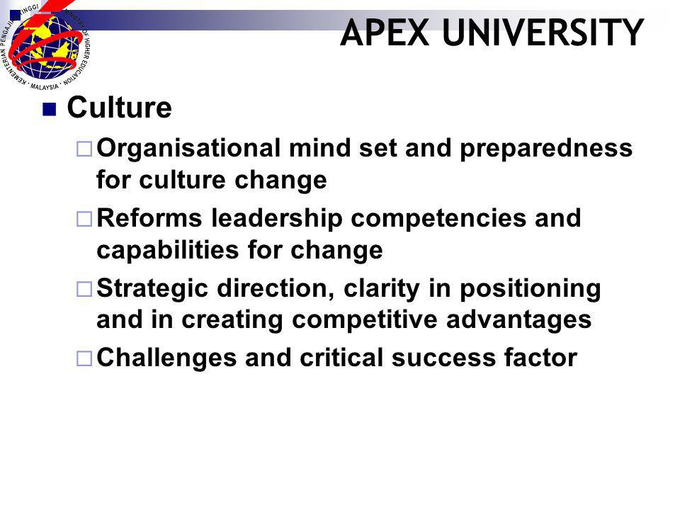 APEX UNIVERSITY Culture Organisational mind set and preparedness for culture change Reforms leadership competencies and capabilities for change Strategic direction, clarity in positioning and in creating competitive advantages Challenges and critical success factor