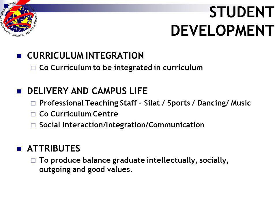 STUDENT DEVELOPMENT CURRICULUM INTEGRATION Co Curriculum to be integrated in curriculum DELIVERY AND CAMPUS LIFE Professional Teaching Staff – Silat / Sports / Dancing/ Music Co Curriculum Centre Social Interaction/Integration/Communication ATTRIBUTES To produce balance graduate intellectually, socially, outgoing and good values.