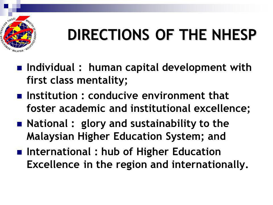 DIRECTIONS OF THENHESP DIRECTIONS OF THE NHESP Individual : human capital development with first class mentality; Institution : conducive environment that foster academic and institutional excellence; National : glory and sustainability to the Malaysian Higher Education System; and International : hub of Higher Education Excellence in the region and internationally.